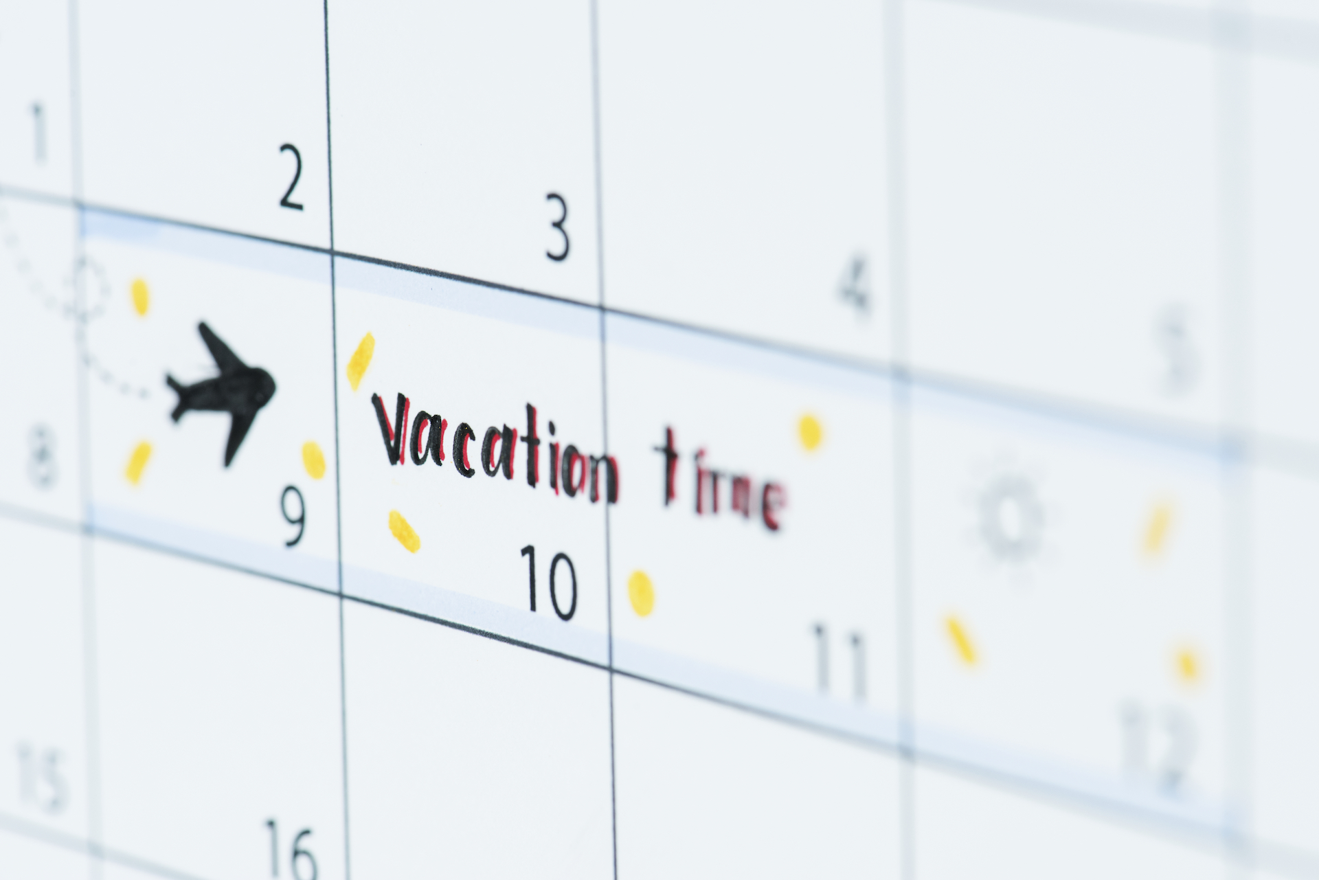 Image of a calendar reminder for a vacation to South Hutchinson Island
